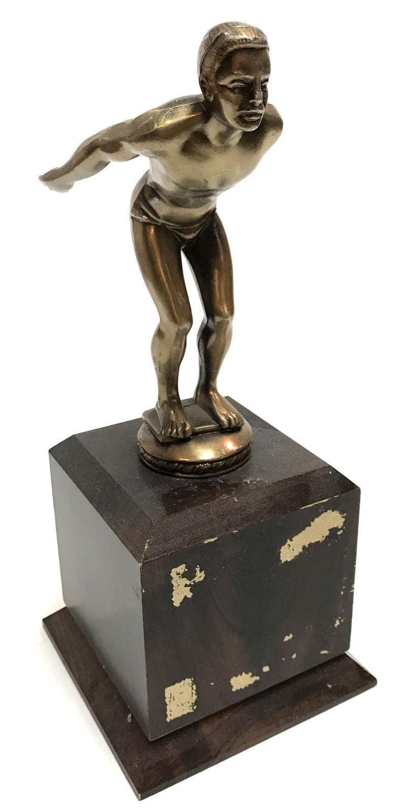 """Football Player ball running Cast Bronze VINTAGE stand trophy Award 12/"""" Tall Art"""
