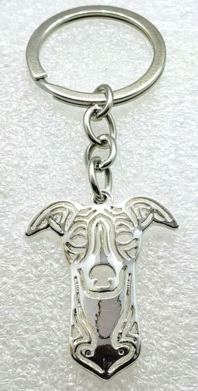 Whippet Dog Pup Key Ring Silver Alloy Keychain Jewelry