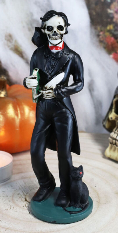 Ebros Gothic Day Of The Dead Edgar Allan Poe Statue With Raven Skeleton Figurine