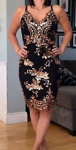Black and gold evening dress $60