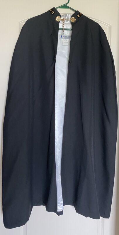 "KNIGHTS OF COLUMBUS K of C Black Cape Cloak Robe White Lined Emblem 44"" Long"
