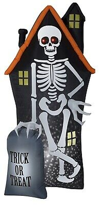 Halloween Gemmy 8 ft StarSpinner Haunted House Skeleton & Tombstone Inflatable