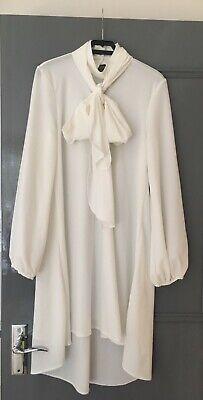 Ivory Pussybow Tunic / Dress size 10 UK - John Zack