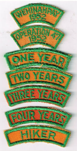 BSA Seven 1952 Camp Wehinahpay Patches Conquistador Council Roswell NM