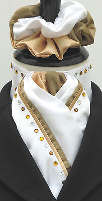 Ready Tied White & Gold Duo & Diamantes Faux Silk Dressage Stock & Scrunchie