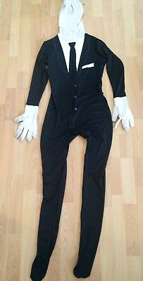 Spirit Halloween Black Suit and Tie Full Morph Suit Skinsuit, Size Adult Medium