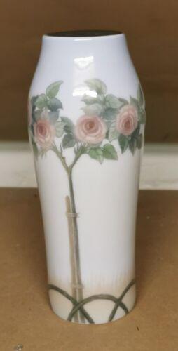 Vintage early Art Nouveau Royal Copenhagen vase with rose flowers decoration