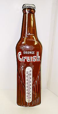 Vintage Orange Crush Soda Pop Bottle Thermometer Tin Advertising Sign Drugstore