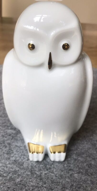 Porcelain Owl w/ Gold Accents; Bavaria, West Germany