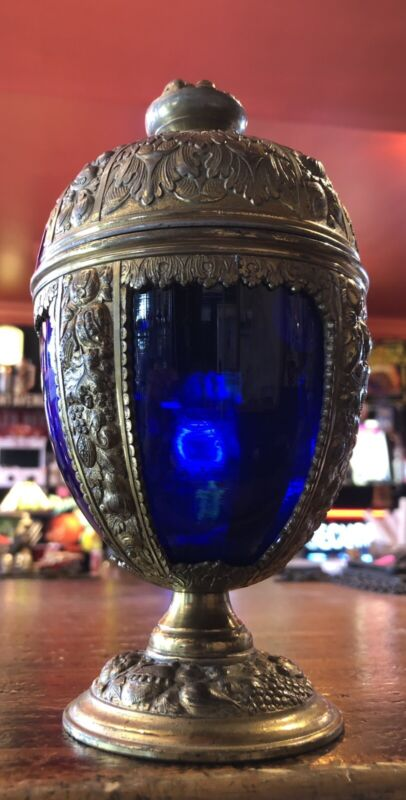 "VINTAGE BRASS CASED COBALT BLUE Glass EGG LIDDED 8"" JAPAN Rare"