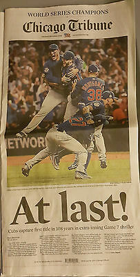2016 Chicago Cubs World Series Champions Sun Times Tribune At Last Newspapers