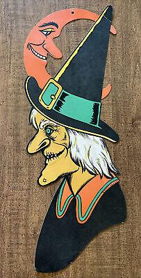 """Vintage Beistle Halloween Die Cut-23""""Embossed Witch-Moon-Cardboard Window Decor"""