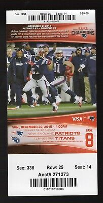 December 20, 2015 New England Patriots & Titans Full Ticket Brady 2 TD