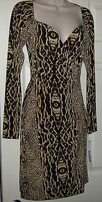 Kamalikulture Animal Print Faux-Wrap Sexy Long Sleeve Dress NWT Women's XS $99