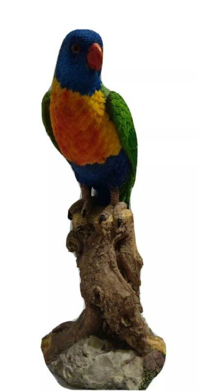 "14"" Colorful Macaw on Tree Figurine - Tropical Bird Decor - Parrot Decor"