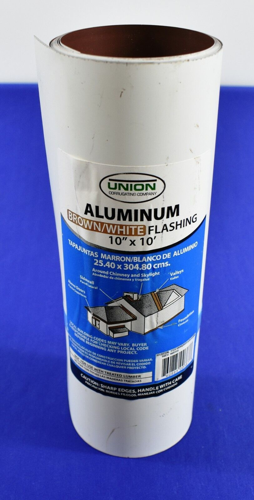 Union Corrugating 10-in X 10-ft Aluminum Roll Brown/White Flashing NOS 3396 - $19.99