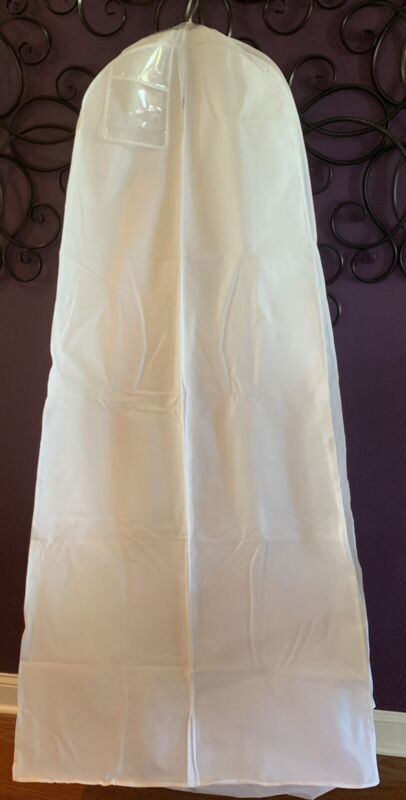 "Lg Bridal Gown GARMENT BAG breathable Wedding Pagent Prom WHITE 24x72 10"" gusset"
