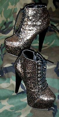 PAPER FOX GLITTER HIGH HEEL BOOTS BOOTIES VEGAS GOTH SHOW GIRL EXOTIC SZ 7.5 - Glitter Boots