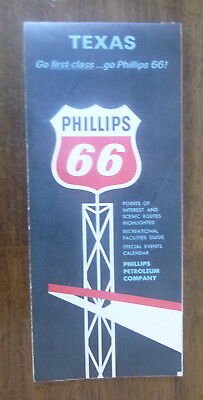 1965 Texas  road map Phillips 66  oil  gas route 66
