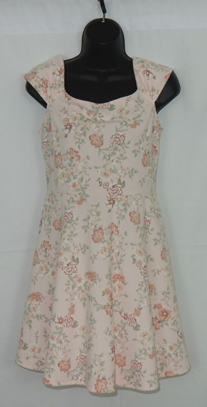 Forever 21 Women's Dress Sz M Peach,Pink,Greens Soft Floral Fabric EUC Free Ship
