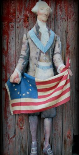 Antique colonial folk art doll porch sitter 4th of July Americana decoration