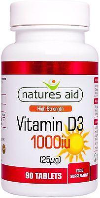 Vitamin D3  25µg (1000iu) 90 tablets - Natures Aid
