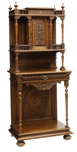 Antique Sideboard FRENCH HENRI II STYLE CARVED WALNUT SERVER, 19th century 1800s