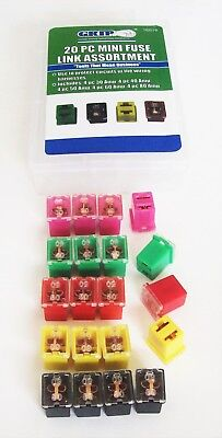20pc MINI FUSE LINK JCASE FMX PAL CARTRIDGE AUTOMOTIVE CAR FUSE ASSORTMENT FUSES