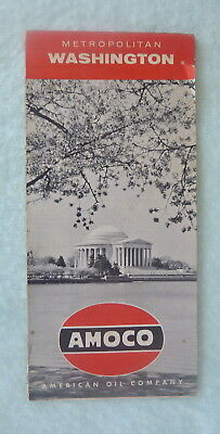 1958 Washington, D.C. street  map Amoco oil   gas metro roads Jefferson Memorial