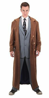 Doctor Who Tenth Doctor Brown Full Length Coat Licensed BBC Costume Coat - Costumes Doctor Who