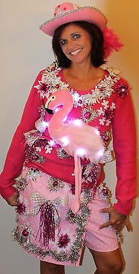 Created By Deb R Ugly Tacky Christmas Sweater Dress Outfit  Med  Flamingo LIGHTS (Ugly Sweater Outfits)