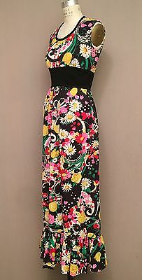 Vintage 60s 70s Mod Psychedelic Maxi Dress Hippie Floral Boho Jersey Empire - 60s Hippie