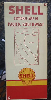 1955 Pacific Southwest Road  Map Shell  Oil Gas California Nevada  12 Route 66