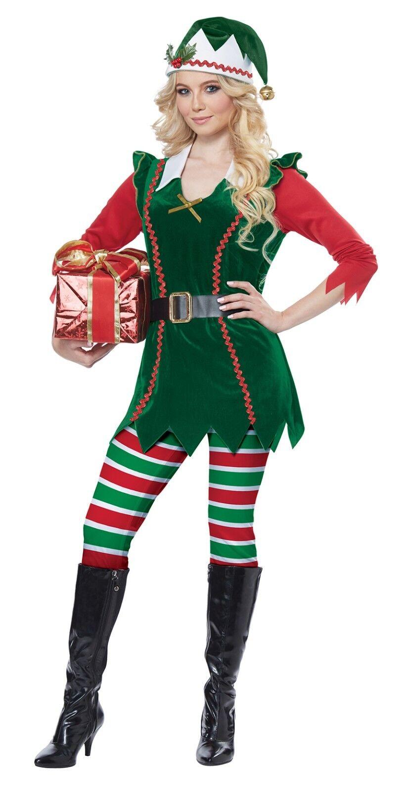 Santa Festive Elf Christmas Adult Women Costume