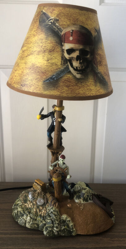 """DISNEY Pirates of the Caribbean 21"""" Table Lamp Musical Glows in Dark Animated"""