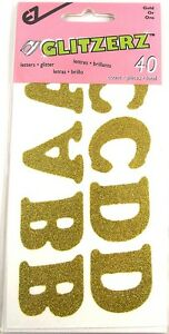 40 x Gold Glitter Iron On Letters