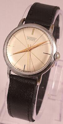 Vintage JUNGHANS Trilastic Bauhaus Style Linen Dial 17 Jewel Watch