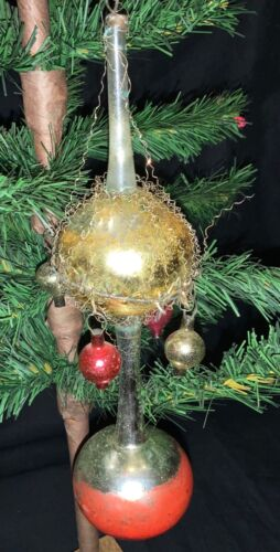 HUGE ANTIQUE GERMAN VICTORIAN WIRE WRAPPED GLASS ORNAMENT
