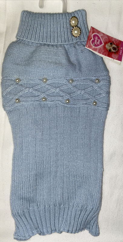 Smoochy Pooch Blue Cable And Pearl Sweater Size Medium For Dogs