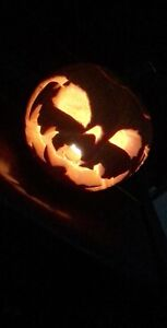 Carved Pumpkin! + candle