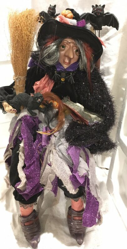 Adorable Witch w Bat chair, book of spells Cat,broomstick Poseable. Original Box