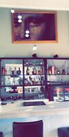 Female bartender and server