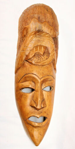 African Wooden Mask Hand Carved Decorative for Wall or Shelf  - FREE SHIPPING