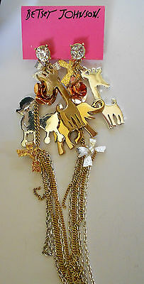 """HUGE BETSEY JOHNSON HAUTE COUTURE NWT 6"""" EARRINGS BOWS STONES POODLES  RETIRED"""
