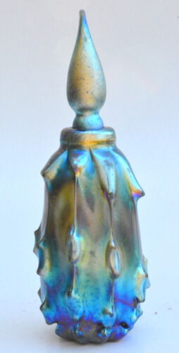 Luster Blue Perfume Bottle With Antique Design. Art Glass