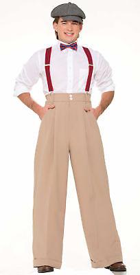 Deluxe Roaring 20's Beige Pants Adult Men Costume Accessory Newsboy New Standard - Newsboy Halloween Costume