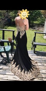 Black and Gold Beaded Prom Dress with Train