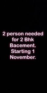 2 roomates required for 2 bed room bacement