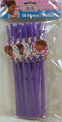 Party Straws DISNEY DOC MCSTUFFINS Birthday Supplies 18 Pack S2 (Doc Mcstuffins Birthday Party)