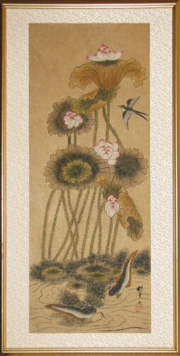 A Fine Korean Large Lotus, Fish and Bird in Pond Painting (蓮池圖)-19th C
